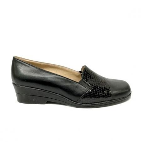 Pantofi dama lati casual cu elastic si talpa ortopedica din piele naturala cu insertii de lac