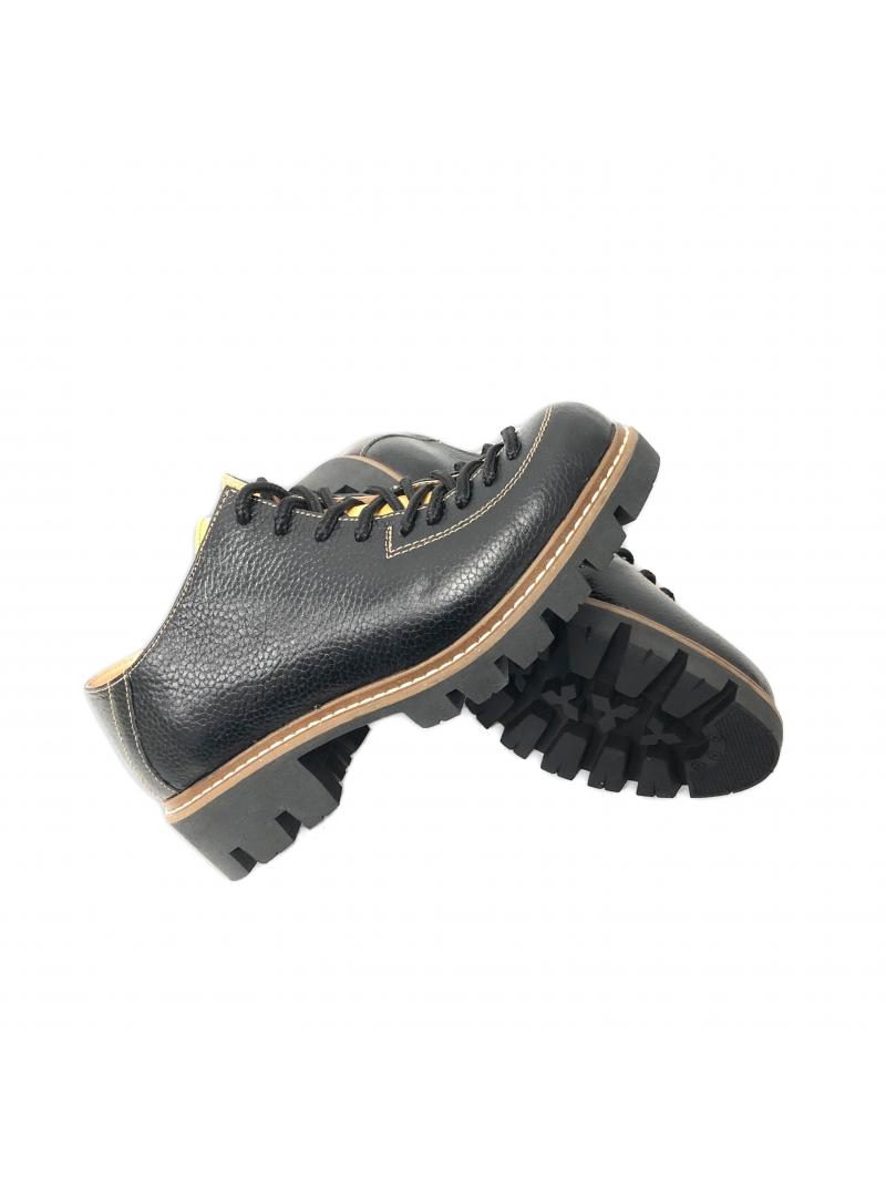 Pantofi dama negri cu galben cu siret din piele naturala, talpa groasa.