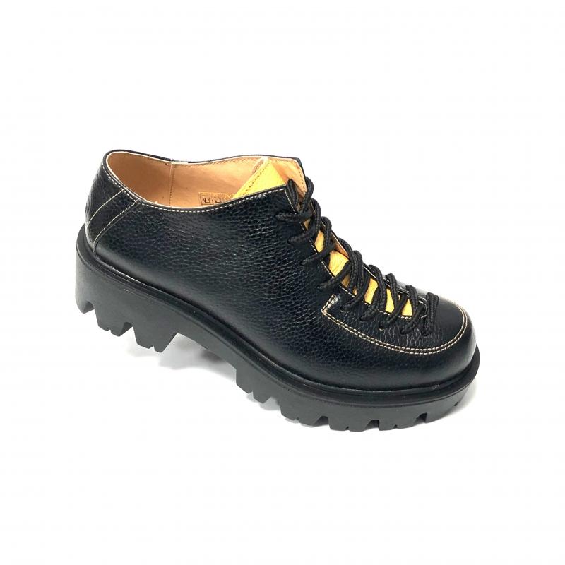 Pantofi dama negri cu siret si talpa groasa Miruna, Piele Naturala