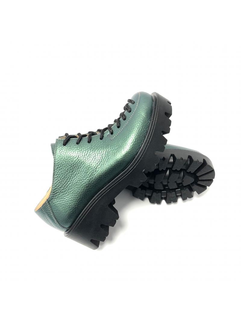 Pantofi dama verzi cu siret din piele naturala, talpa groasa