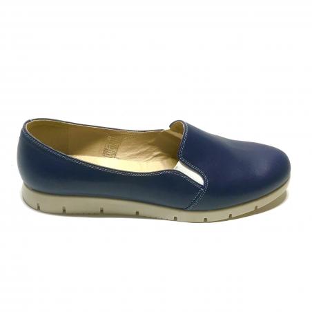 Pantofi dama sport casual cu elastic, albastri cu imprimeu colorat din piele naturala