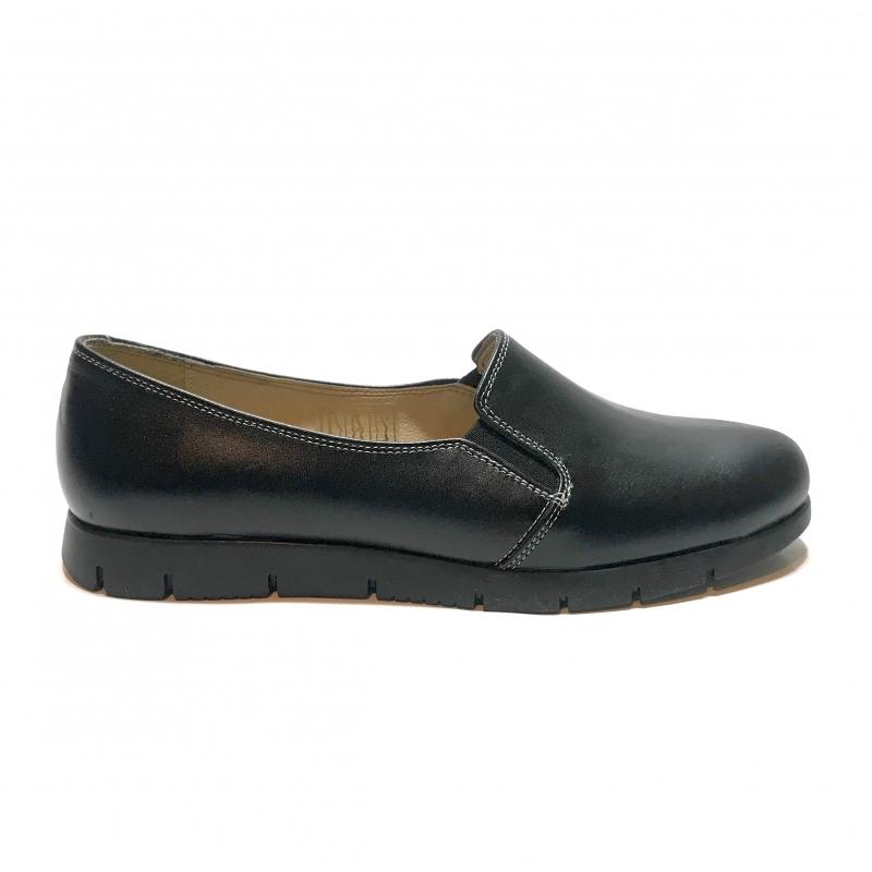 Pantofi dama sport casual cu elastic, negri din piele naturala