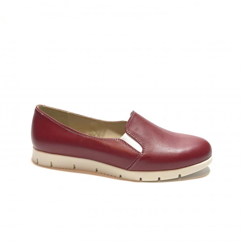 Pantofi dama sport casual cu elastic, rosii din piele naturala