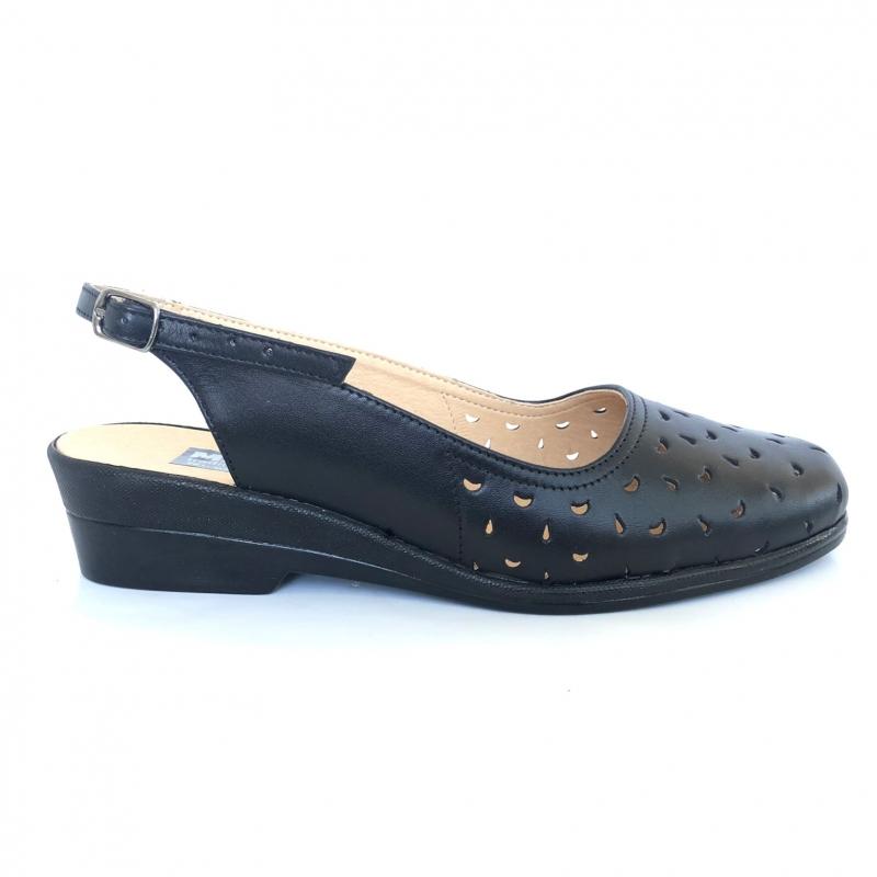 Sandale dama negre late cu talpa ortopedica din piele naturala