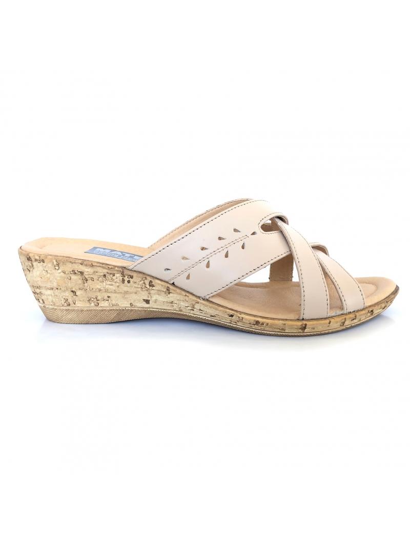 Papuci dama bej cu talpa joasa ortopedica din piele naturala