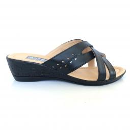 Papuci dama negri cu talpa joasa ortopedica din piele naturala