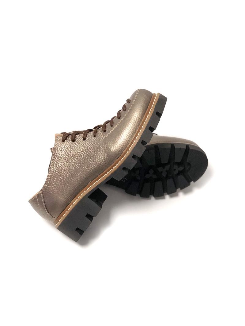 Pantofi dama maro cu siret din piele naturala, talpa groasa