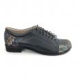 Pantofi dama lati albastri cu imprimeu Daphne22, Piele Naturala