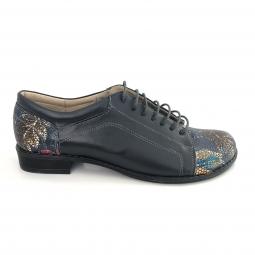 Pantofi dama albastri casual cu siret din piele naturala cu imprimeu floral