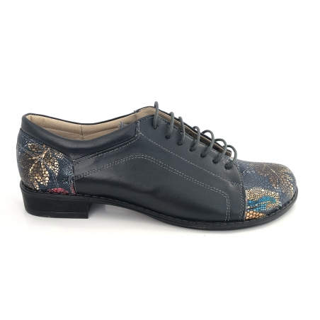 Pantofi Dama Ortopedici Negri Lac 112GR din Piele Naturala