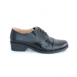 Pantofi dama negri cu lac comozi cu siret si elastic fabricati in Romania