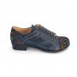 Pantofi dama albastri casual cu siret din piele naturala cu imprimeu multicolor