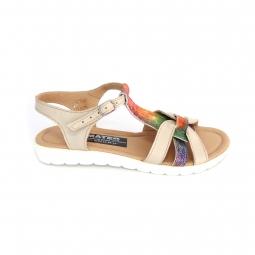 Sandale dama joase bej colorate cu catarame din piele naturala