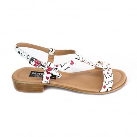 Sandale dama albe colorate joase cu catarame din piele naturala