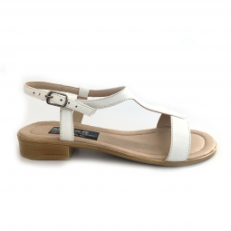 Sandale dama albe joase cu catarame din piele naturala
