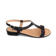 Sandale dama negre colorate joase cu catarame din piele naturala