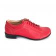 Pantofi dama lati rosii cu siret Daphne22, Piele Naturala