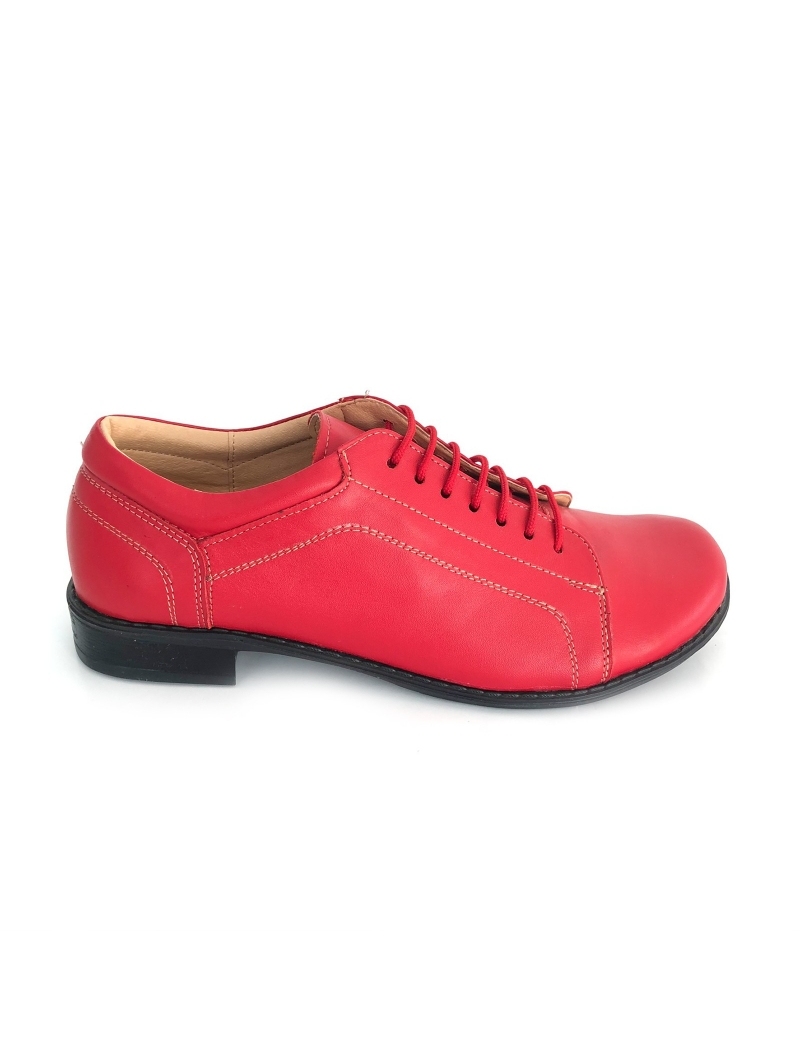 Pantofi dama lati casual cu siret din piele naturala