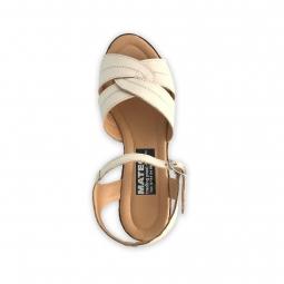 Sandale dama bej cu platforma piele naturala