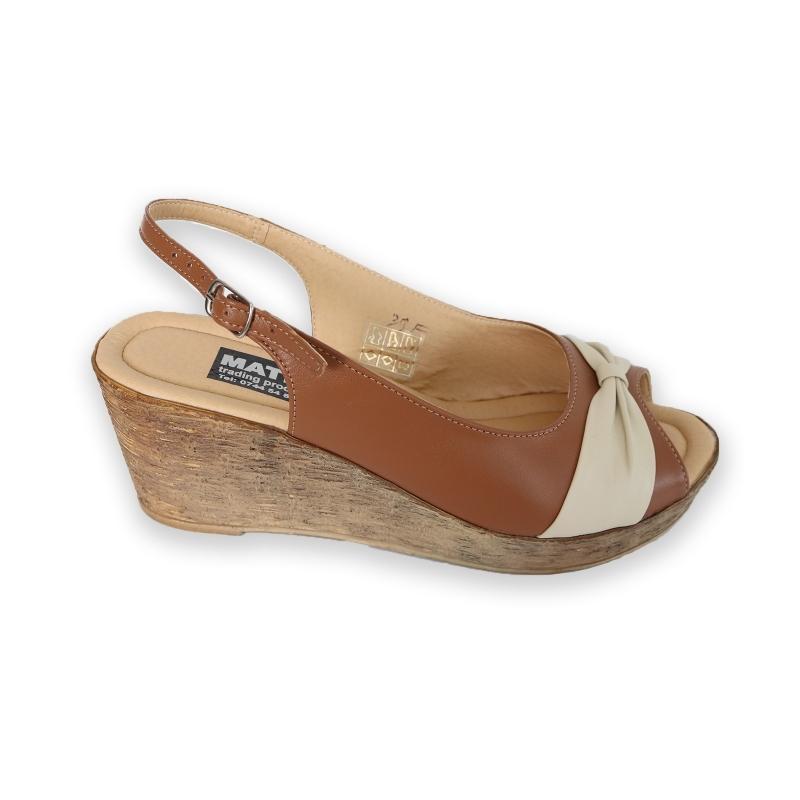 Sandale dama bej si maro cu platforma piele naturala