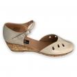 Sandale dama bej cu bareta si talpa ortopedica Berta75, Piele Naturala
